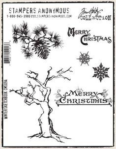 Tim Holtz Cling Mounted Stamp Sets - WINTER SKETCHBOOK