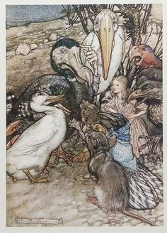 Alice In Wonderland - The caucus race episode. Illustrated by Arthur Rackham