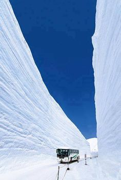 Yuki-no-Otani Snow Canyon Road in Japan