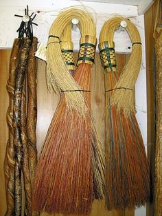 Most of Sneedville broom maker Keith Bowman's broom handles are made from sticks gathered from the roadsides, preferably ones that have been twisted by honeysuckle vine. Bowman will also occasionally make a handle out of deer antler.