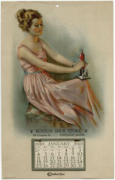 Antique 1920 Gene Pressler 12-Month Pin-Up Calendar with Shoe Advertising Rare | eBay
