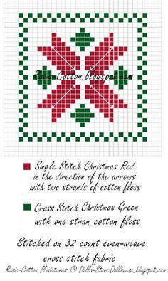 "Dollar Store Dollhouse: Miniature Dollhouse Cross Stitch Pillow ""Christmas Poinsettia"" Chart"