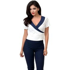 Collectif White & Navy Nautical Faux Wrap Doreen Top ($33) ❤ liked on Polyvore featuring tops, white, white top, short sleeve wrap top, short sleeve tops, white wrap top and collectif