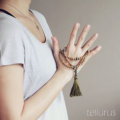 Agarwood 108 bead wood mala necklace with olive green tassel, turquoise bronze, antiqued brass accents on Etsy, $52.34