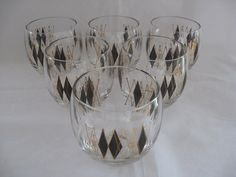 Federal Glass Black Diamond Gold Roly Poly Set of 6 by DaisysAttic, $42.00