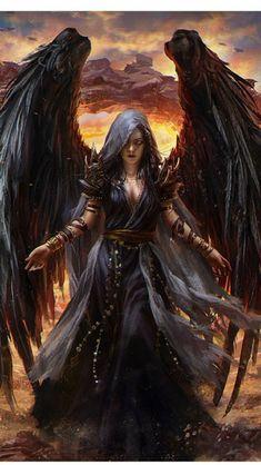 f Dark Angel Robes Volcano Wilderness ne Dark Fantasy Art, Fantasy Girl, Fantasy Artwork, Fantasy Female Warrior, Angel Warrior, Fantasy Art Women, Fantasy Kunst, Dark Art, Fantasy Art Angels