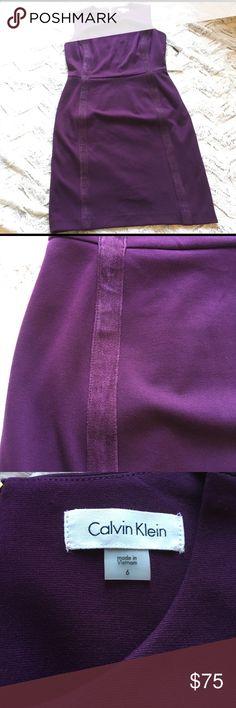 Calvin Klein eggplant purple suede accent dress So elegant with nice suede trim. Calvin Klein Dresses
