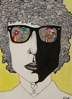 Bob Dylan by Requiempouruncon Rock Posters, Concert Posters, Doodles, Janis Joplin, Psychedelic Art, Mellow Yellow, Joe Cocker, Rock Art, Zentangle