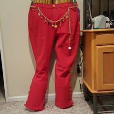 DG2 Nautical Jeans Red denim pants with gold accents. Metal chain belt included. Buttons at ankle are functional. New with tags. Cotton, polyester spandex blend Diane Gilman  Jeans Boot Cut