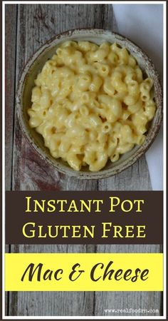Instant Pot Gluten Free Mac and Cheese. This has quickly become a favorite meal in our house! Made with bone broth and grass fed cream and cheese, so it's a nourishing kiddie lunch! Plus, it only takes 7 minutes to make in the Instant Pot! realfoodrn.com