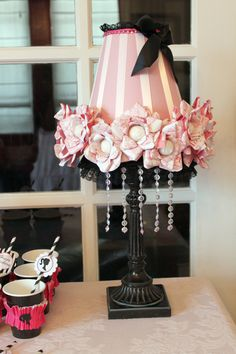 party favor lamp  look closely at the roses ~ they have birthday girls name on them! love