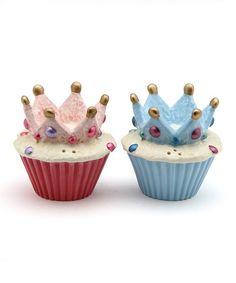 Love this Crown Cupcake Salt & Pepper Shaker Set on #zulily! #zulilyfinds