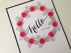 December Daily Title Page using @WPlus9 Design Studio Fresh Cut Florals and Hand Lettered Hello.