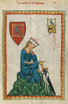 Walther von der Vogelweide (c. 1170 - c. 1230) is the greatest German lyric poet of the Middle Ages. Image: His portrait in the Codex Manesse (Folio 124r)