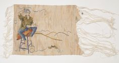 Sarah Swett, I Dunno, 10 x 14 inches, Handwoven tapestry, hand spun silk warp and weft; natural dye