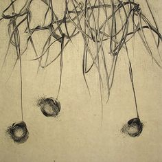 Nathalie Grall(French, b.1961)  Balançoires et capuchon  etching