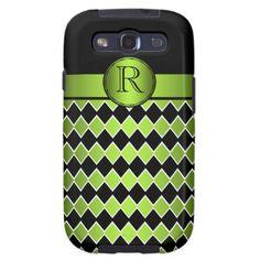 Galaxy S3 Black Lime Diamond Pattern Monogram