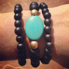 Black and Turquoise Bracelet Set by AroundMyWrist on Etsy, $13.95