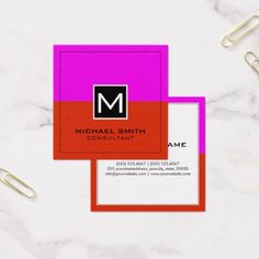#makeupartist #businesscards - #Professional Monogram Modern Red Magenta Square Business Card