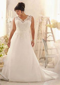 Directsale A-Line Appliqued Organza Plus Size Wedding Dress For Fat Woman Free Measurement