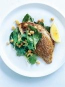 pan-fried snapper with chickpea and zucchini salad