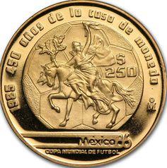 1985 $250 peso Mexican Futbol Gold coin