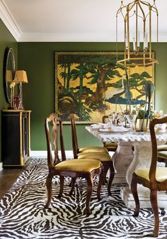 "Time to Dine: ""A good color palette will always leave a lasting impression,"" explains Interior Designer Amy Morris of Amy D. Morris Interiors about her Dining Room design for the 2012 Cathedral Antiques Showhouse in Atlanta, GA."