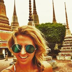 Doing tourist things in Bangkok. Places In Bangkok, Wat Pho, Round Sunglasses, Spaces, Adventure, Photo And Video, Instagram, Round Frame Sunglasses