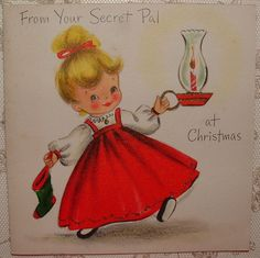 UNUSED- Pretty Little Girl in Red -50's Vintage HALLMARK Christmas Greeting Card