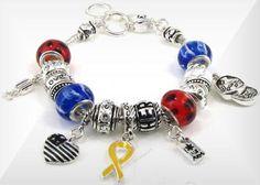 0432ed17d Pandora Style Patriotic Bracelet w/Dangle charms OB02916ASMUL Pandora  Bracelet Charms, Dangles, Jewelery