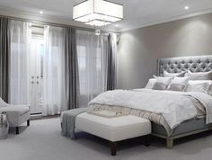 Grey bedroom: these colors can really go with anything. It'll make decorating easy-like the window treatments