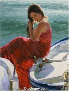 Gallery of artist Vladimir Volegov, portraits of very beautiful women. Boat Painting, Figure Painting, Painting & Drawing, Female Portrait, Female Art, Vladimir Volegov, Red Art, Foto Art, Beautiful Paintings