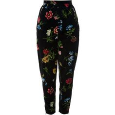 Kenzo Vintage Tapered Floral Print Trouser ($782) ❤ liked on Polyvore featuring pants, bottoms, trousers, pantalones, jeans, black, vintage trousers, tapered pants, kenzo and floral trousers