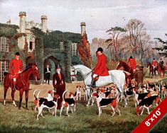 "20/""x14/"" Art Print Horses hunting 1884,Charles-Fernand de Condamy Fox Hounds"