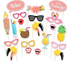 Tinksky Flamingo Hawaii Themed Summer Party Photo Booth Props Kit Luau Party Supplies for Holiday Wedding Party Favors Party Set, Diy Party, Ideas Party, Photo Booth Party Props, Beach Photo Props, Props Photobooth, Party Fotos, Hawaian Party, Luau Party Supplies