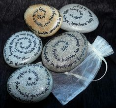 quoted rocks... Place in a pretty bowl or basket to be used as decor later