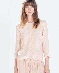 Image 1 of POLKA DOT SILK TOP from Zara