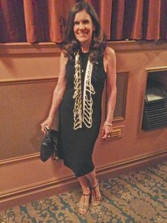Betsy Franco wearing our viscose tucked dress and cage scarves. where? premiere of Of Mice & Men, staring James Franco