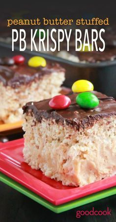 Gluten-Free Peanut Butter Stuffed PB Krispy Bars. Frosted in chocolate and topped with PB M&Ms, this dessert is perfect for midnight munchies, kids parties and the peanut butter lover in your life!