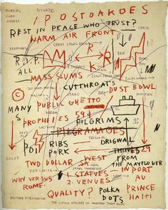 Basquiat Untitled (Quality), 1983 Oil paintstick and ink on paper, 19.5x15.5 inches