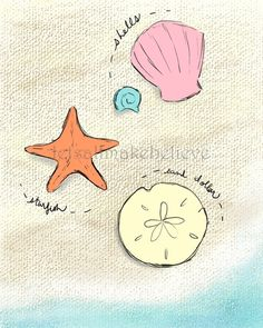 Nursery Art Print Beach Finds with Sea by LetsAllMakeBelieve, $13.00