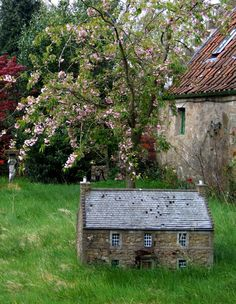 List of Pictures: Little Stone House. A beautiful Little Stone House in the backyard of beautiful house. Fairy Garden Houses, Fairy Gardens, Garden Cottage, Cottage House, Cottage In The Woods, Brick Cottage, Fairy Doors, Stone Houses, Stone Cottages