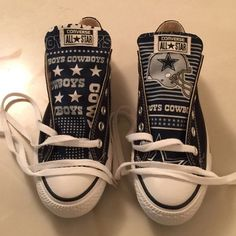 Stand out from the crowd with Dallas Cowboys team spirit in these adorable  Converse style sneakers that have handmade Dallas Cowboys designs. 480081c4a