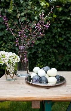 Hibiscus dyed easter eggs