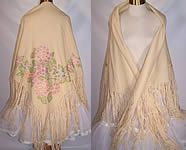 Vintage Cream Wool Pastel Violets French Knot Embroidered Fringe Shawl