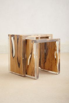 Lucite Lux® nesting tables. The intersection of nature and acrylic is beautiful.