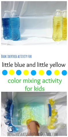 Little Blue and Little Yellow- color mixing activity for kids - FSPDT Color Blue Activities, Preschool Color Activities, Creative Activities For Kids, Preschool Projects, Preschool Activities, Preschool Plans, Daycare Crafts, Kids Fun, Toddler Color Learning
