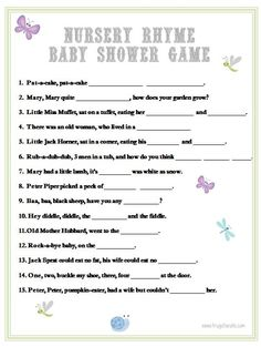 Baby Shower Games: Nursery Rhyme - Frugal Fanatic