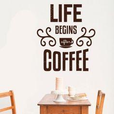 My vinilo. vinilos decorativos. decoración de pared. papel tapiz. Decohunter. Fun and graphics. Life begins after coffee. Encuentra donde comprar este producto en Colombia
