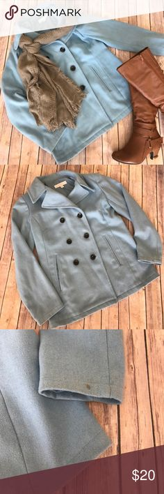 {New York & Company} Light Blue Pea Coat/Jacket This is in good condition and has lots of life left. There is one small coffee stain on the left sleeve at the wrist and some very minor discoloration on the back as pictured. New York & Company Jackets & Coats Pea Coats